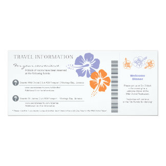 Wedding Travel Info Boarding Pass Card