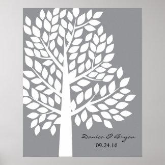 Wedding Tree Poster - Gray