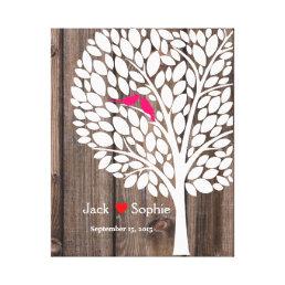 wedding tree signature guest book birds pink wood