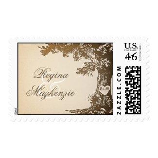 wedding tree vintage postage stamps