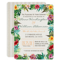 Wedding | Tropical Leaves, Flora & Fancy Pineapple Invitation