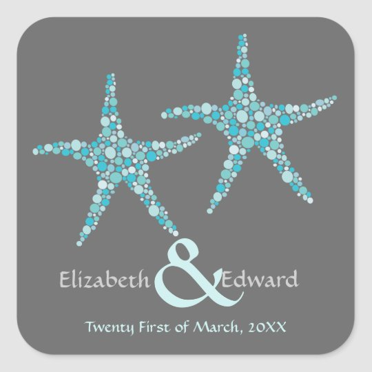 Wedding Turquoise Aqua Starfish Save the Date Square Sticker