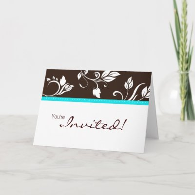 Wedding Turquoise Blue Brown Invitation Card 2 by BestCards