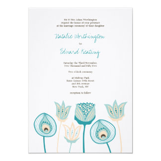 Wedding Turquoise Blue Ivory Funky Flowers 5x7 Paper Invitation Card