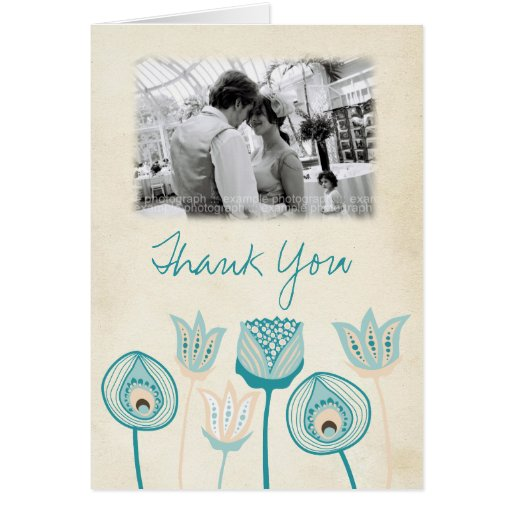Wedding Turquoise Blue Ivory Funky Thank You Card