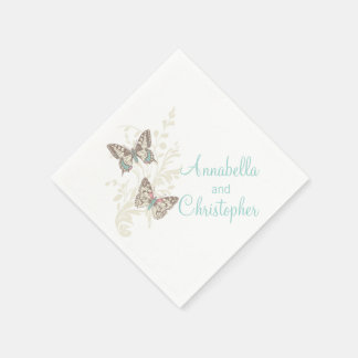 Wedding two butterflies art teal white napkins