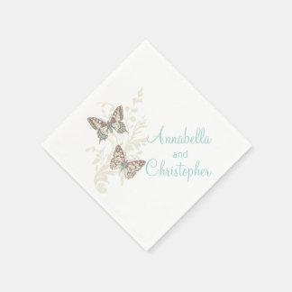 Wedding two butterflies art teal white napkins paper napkins