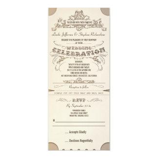 wedding typographic tickets invitations with RSVP