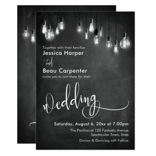 Wedding Typography Edison Lights On Chalkboard Invitation