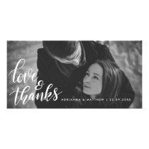 Wedding Typography Love And Thanks | Couple Photo Card