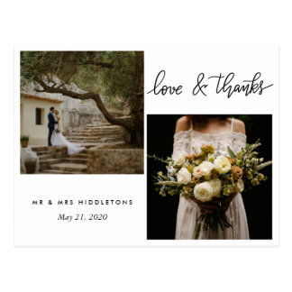 Wedding Typography Love And Thanks | Two Photos Postcard