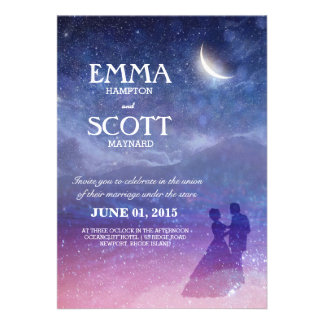 Wedding under the stars invitation dancing couple