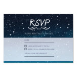 Wedding under the stars RSVP blue night sky 3.5x5 Paper Invitation Card