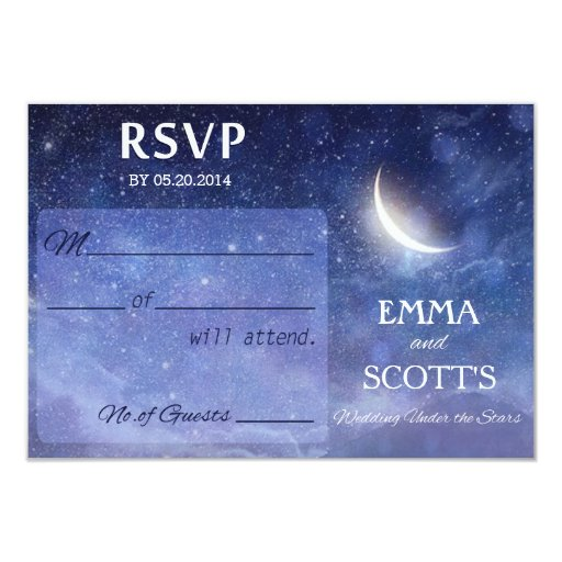 wedding under the stars rsvp card set 3 5 x 5 invitation card