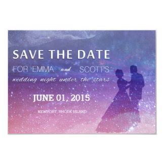 Wedding under the stars save the date couple dance card