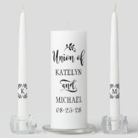 Wedding Unity Candle Set | Black Script
