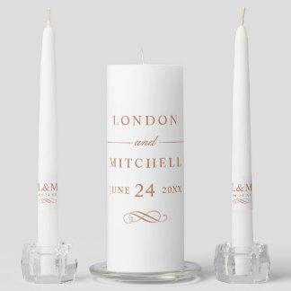 Wedding Unity Candle Set | Copper Classic Elegance