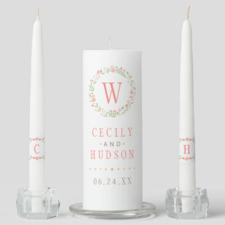 Wedding Unity Candle Set | Country Florals Pink