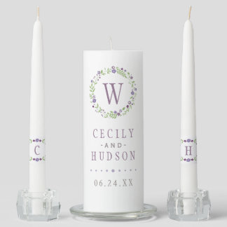 Wedding Unity Candle Set | Country Florals Purple