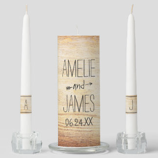 Wedding Unity Candle Set | Rustic Monogram