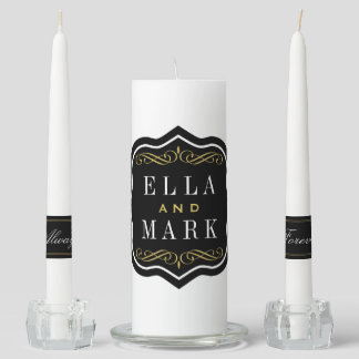 Wedding Unity Candles | Black White and Gold