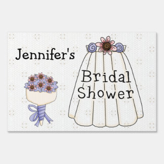 Wedding Veil Bridal Shower Yard Sign