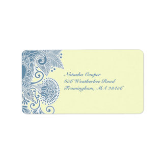 Wedding Victorian Blue Shipping Address Label