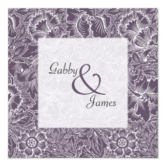 Wedding Vintage Aubergine Plum Pattern Invitation