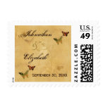 Wedding Vintage Beige French Damask Butterfly Postage