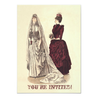 Wedding Vintage bridal party brides and bridesmaid 4.5x6.25 Paper Invitation Card