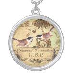Wedding Vintage Chickadees Anniversary Necklace