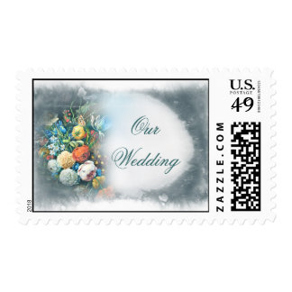 wedding vintage flowers bunch postage stamps