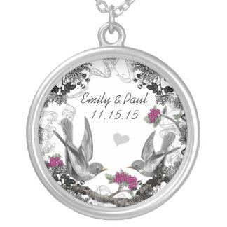 Wedding Vintage Fuchsia Birds Anniversary Necklace