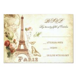 Wedding vintage shabby RSVP cards - PARIS FRANCE