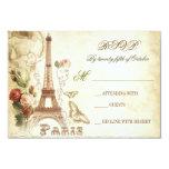 Wedding vintage shabby RSVP cards - PARIS FRANCE Announcements