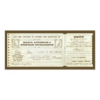"wedding vintage ticket invitation & rsvp design 4"" x 9.25"" invitation card"