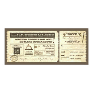"wedding vintage ticket invitation with rsvp design 4"" x 9.25"" invitation card"