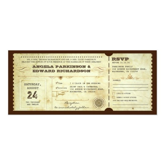 Wedding vintage ticket invitation with rsvp design zazzle wedding vintage ticket invitation with rsvp design stopboris Image collections