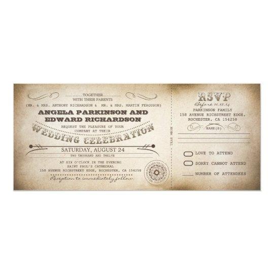 wedding vintage ticket invitation with rsvp design zazzle com