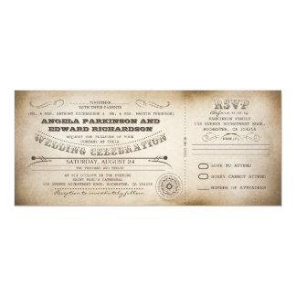 wedding vintage ticket invitation with RSVP design