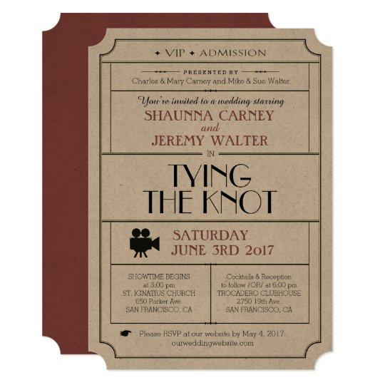 Wedding Vintage Ticket Invite Cinema Film Theme Zazzle Com