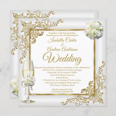 Wedding Vintage White Champagne Gold Pearl Photo Invitation