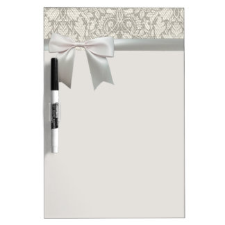 Wedding Vintage White Lace and Linen Dry-Erase Board