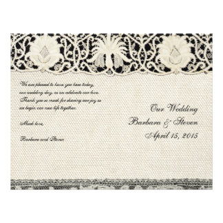 "Wedding Vintage White Lace and Linen 8.5"" X 11"" Flyer"