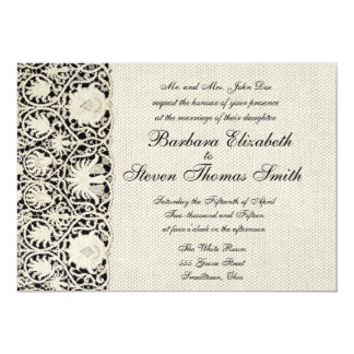Wedding Vintage White Lace and Linen Personalized Invitations