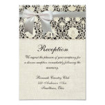 Wedding Vintage White Lace and Linen 3.5x5 Paper Invitation Card