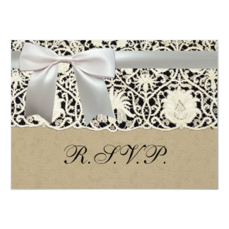 Wedding Vintage White Lace and Linen 4.5x6.25 Paper Invitation Card