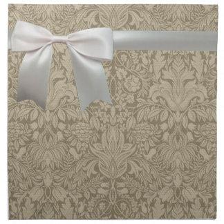 Wedding Vintage White Lace and Linen Napkin