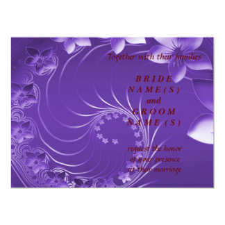 Wedding - Violet Abstract Flowers Card