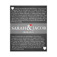 Wedding vow canvas print anniversary gift